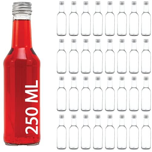 casavetro Bouteilles en Verre vides à Couvercle vissé Transparent 250 ML-couvercles réutilisables Rechargeables Twist Off-Couvercle en Métal hermétique Gin Huile vinaigre Soda Vodka Eau (30 x 250 ML)