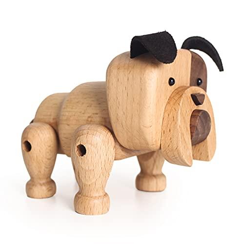 Baishi Figuras de madera nórdica hechas a mano de madera de nogal adorables cachorros juguetes con articulación móvil decoración del hogar adorno de escritorio