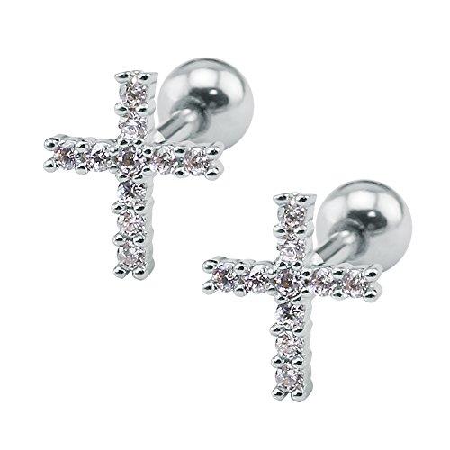 ZeSen Jewelry 16g Funkelnde Zirkonia Edelstahl-Bolzen-OhrRingee Tragus Helix Conch Knorpel-Ohr-Piercing (2) Kreuz