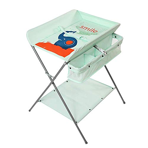LNDDP Baby Changing Table Green with Safety Straps, Diaper/Care Station for Newborn, Portable Dresser Infant 0-3 Years Old (Size : S)