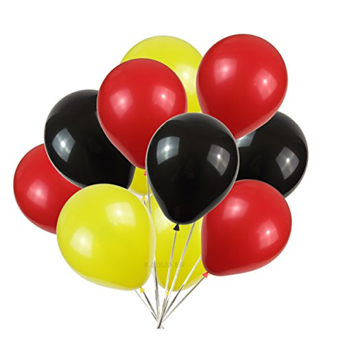 Latex balloons 100 pcs 3 colors party set (yellow red black)