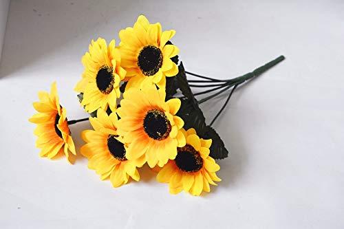 Meitao kunstbloemen, zijde, geel, bloemen, 7 en 14 takken, kunstbloemen, groot B