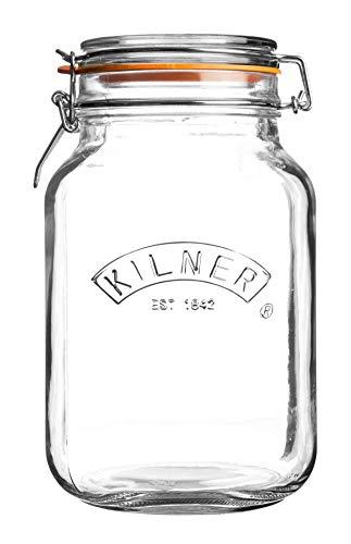 Kilner 0025.513 Barattolo per conserve, marmellate, con base quadrata e tappo meccanico a clip, capacità: 2 litri
