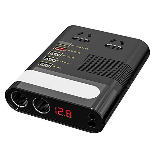 YAMAXUN Inversor De Corriente para Automóvil - Convertidor De Voltaje De 12V 220V CC A CA con Inversor Automático De Cargador Rápido USB QC3.0