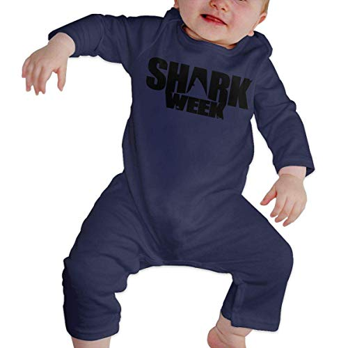 GLGFashion Unisex Shark Week Newborn Baby 6-24 Months Baby Climbing Clothing Baby Long Sleeve Garment White Combinaisons Body bébé Barboteuse