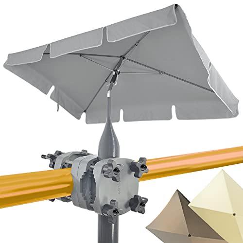 4smile Set – Sonnenschirm Balkon SunnyShade + Sonnenschirmhalter Balkongeländer SunnyGuy – UV 50+ Balkon-Sonnenschirm rechteckig, 200x125cm – Schattenwunder Komplettset - Anthrazit