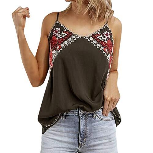 Sannysis Tops Damen Sommer Boho Rückenfrei Sexy Oberteile Frauen Tank Top Ärmellos T-Shirt Spaghetti Tee Strandkleid Vest (M,Kaffee)