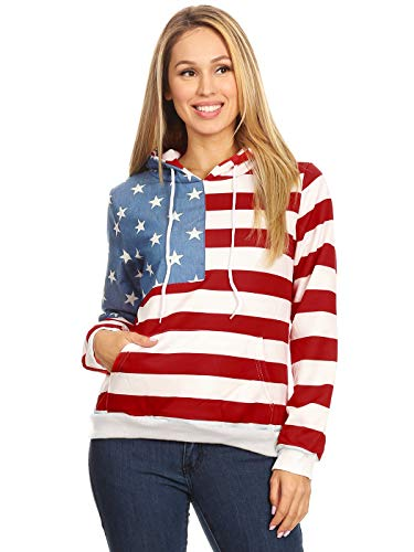 Anna-Kaci Women's Casual American Flag Patriotic USA Pullover Hoodie Sweater,Multicolor,Large
