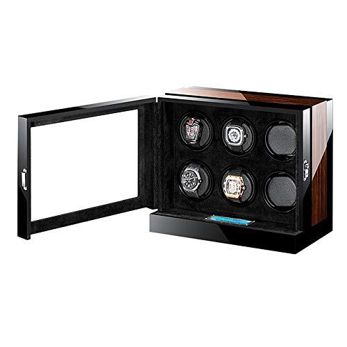 TANGIST Automático Cajas Giratorias para Relojes por 6 Relojes Motor Silencioso, con Pantalla Táctil LCD Luz LED 5 Colores Piano Lacquer+Madera