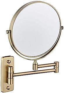 BMJ&C Round Vanity Mirror Makeup Mirror Bathroom Wall Mounted Swivel Shaving Cosmetic Mirror (Color : 02, Size : 6 inch/5×)