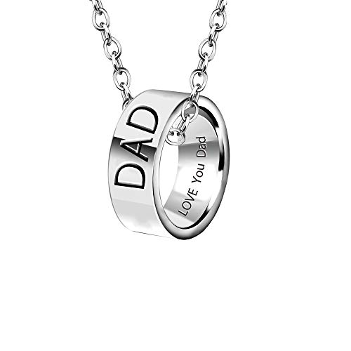 YONGHUI Mens Personalised Adjustable Stainless Steel Ring Necklace Jewellery For Dad Daddy Engraved Love You Fathers Day Birthday Gifts Silver (Dad)