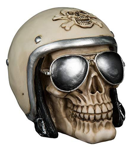 MIK Funshopping Spardose Sparbüchse Im Totenkopf-Design (Schädel mit weißem Motorradhelm)