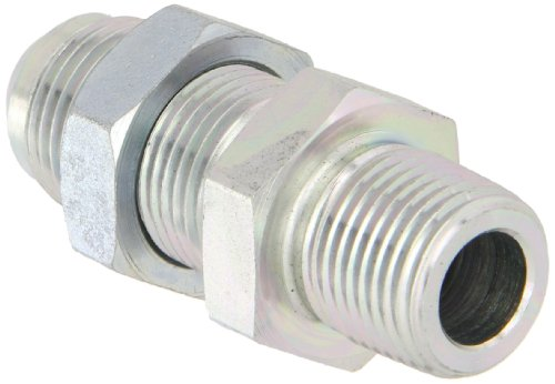 Eaton Aeroquip 2240-8-10S Male Bulkhead Connector, Male 37 Degree JIC, Male Pipe Thread, JIC 37 Degree & NPT End Types, Carbon Steel, 1/2 NPT(m) x 5/8 JIC(m) End Size, 5/8
