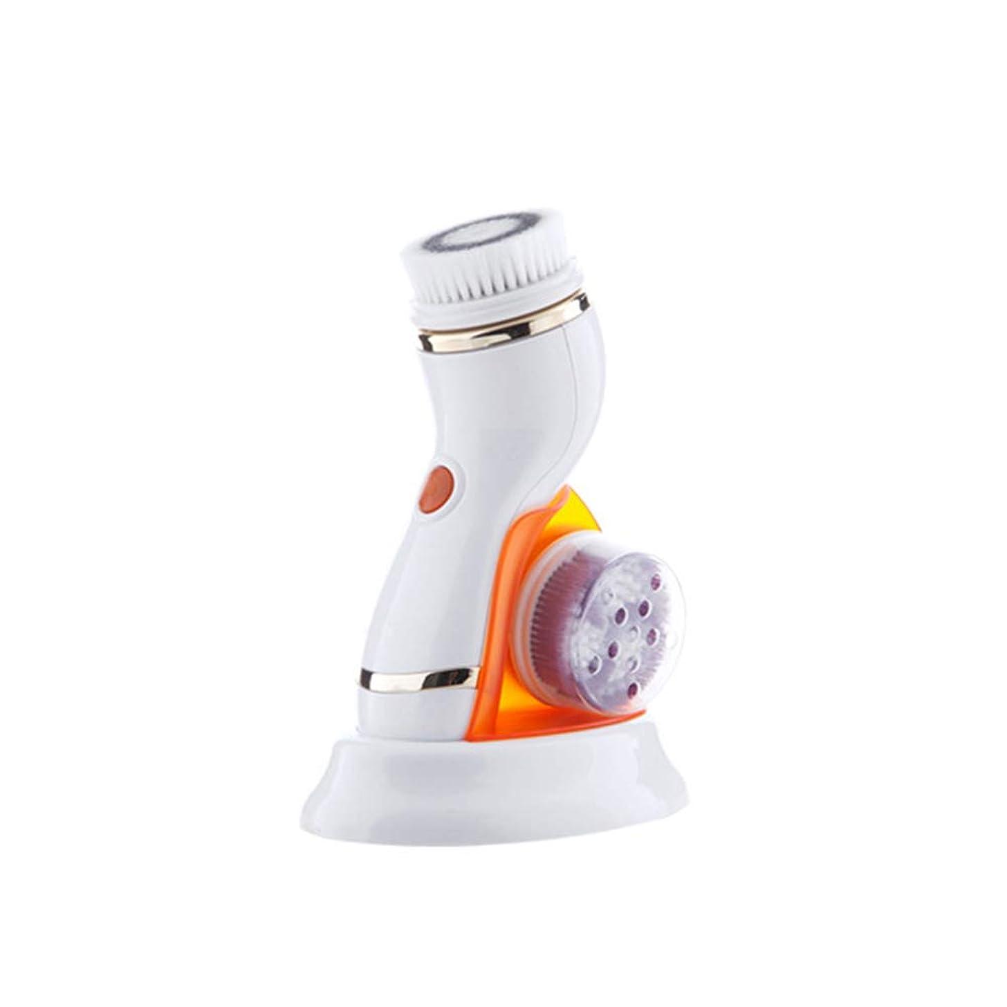かみそり真っ逆さまレイアウト4 in 1フェイシャルクレンジングブラシ、ポータブル電気防水回転式フェイススクラバー、フェイスクリーニング用の4つのブラシヘッド、角質除去マッサージ,オレンジ色