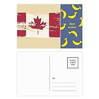 カナダ味とメープルリーフ旗 バナナのポストカードセットサンクスカード郵送側20個