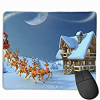 クリスマスサンタスノーフレーク マウスパッド 25x30cm レーザー&光学マウス対応 防水/洗える/滑り止め 中型 ブラック