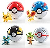 4pcs PokePets Ball Pocket Monsters Master Super - Mini PokBalls Action Figures - Pet Pocket Monster Action Figure Toy for Kids Ages 2 and Up