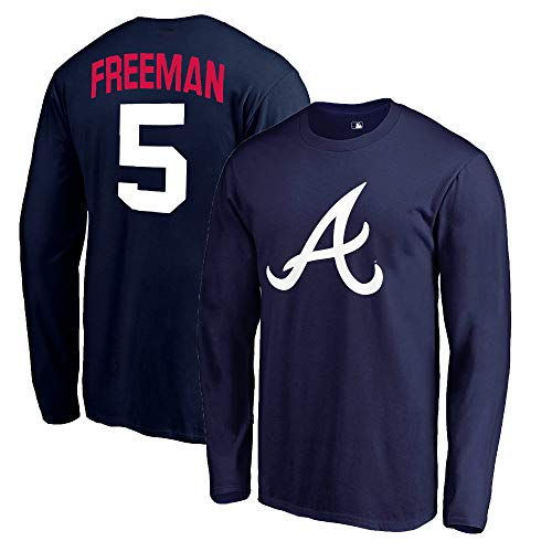 Outerstuff MLB Youth 8-20 Team Color Alternate Primary Logo Name and Number Long Sleeve Player T-Shirt (Freddie Freeman Atlanta Braves Navy, 8)