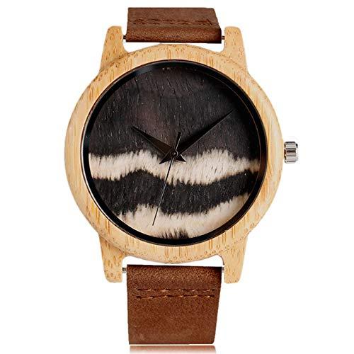 RWJFH Reloj de Madera Reloj de Madera Reloj de Pulsera de diseño de patrón de Madera Creativo Especial Reloj de Cuarzo de Cuero Reloj Deportivo para Hombres Regalo de Tiempo para Mujeres, 2
