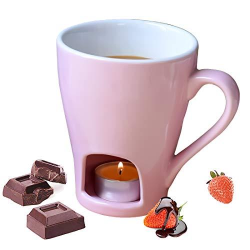 Acoser Schokoladenfondue Set Schoggifondue Schokofondue Chocolate Fondue Mug Käsetopf - 1 Gabeln(Enthält Keine Kerzen)(Rosa)