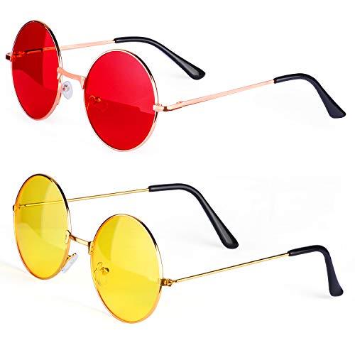 Haichen Hippie Retro Sonnenbrille 60er Jahre Style runde farbige Brille Kostümzubehör (B)