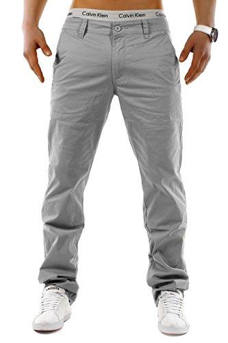 EGOMAXX Herren Chino Hose Stretch Jeans Slim Fit Designer Basic Stoffhose, Farben:Grau, Größe Hosen:W32