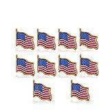 Ruluti 10pcs Drapeau Américain Independence Day Épinglette Etats-Unis USA Chapeau Tie...