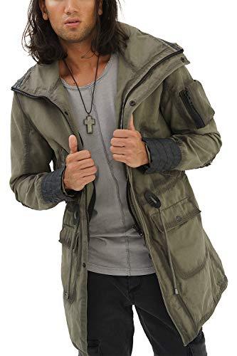 trueprodigy Casual Herren Marken Lange Jacke mit Leder Details Parka Cool Stylisch Vintage sportlich Slim Fit Jacke Männer, Farben:Khaki, Größe:S