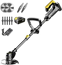 YNAYG Cordless String Trimmer, Home Lightweight Grass TrimmerWeed Edger Electric Lawn Mower Height Adjustable Brush Cutter with 42V 12000mA Battery and Charger, for Patio Yard Garden Tools