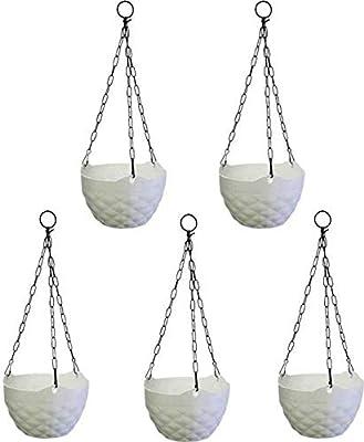Generic Diamond Hanging Pot (White) Plant Container(Plastic, External Height - 46 cm)