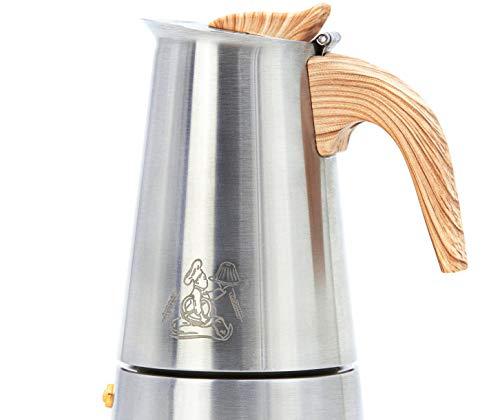 Walter's Brotlädele Espressokocher Elektro, Gas oder Induktion geeignet | aus Edelstahl gefertigt mit Bakelit Griff und Silikonbeschichtung | 6 Tassen Espressokanne | 300 ml Mokkakanne (6 Tassen)