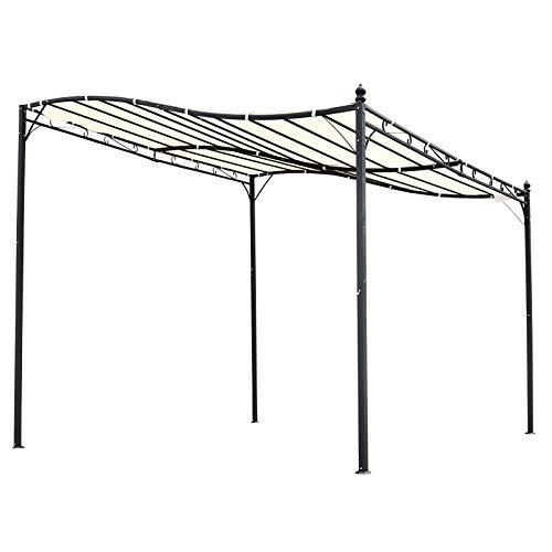Outsunny Pérgola de Jardín 3x3 m Cenador con Toldo y 8 Orificios de Drenaje para Patio Terraza Metal y Poliéster 180 g/m² Resistente Crema