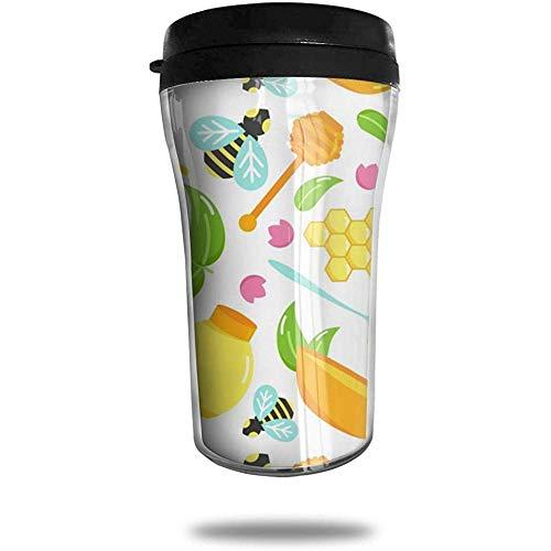 Koffiemok voor bijen en honing, bedrukte draagbare zuignap, geïsoleerde thee-schaal-water-fles-beker voor het drinken