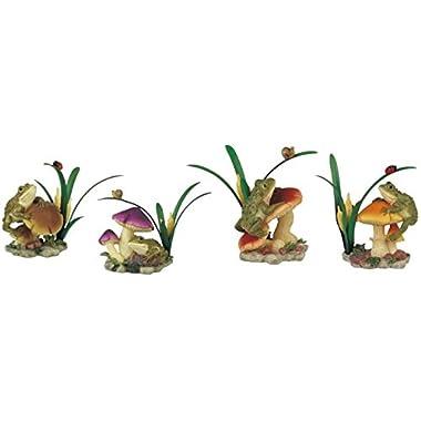 StealStreet SS-G-61015 4 Piece  Frog on Mushroom  Garden Set Figurines, 4