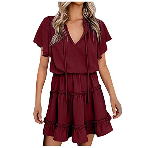 Padaleks Women's Summer Short Sleeve V Neck Ruffles Flare Dresses Elastic Waist Loose Casual Mini Dress Sundress
