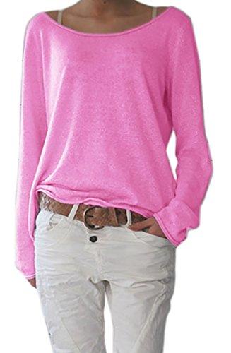 Mikos* Sexy Rundhals Ausschnitt Langarm Lose Bluse Strick Pullover Farben Sommer Herbst Winter S-M-L-XL-(632) (Hellrosa, S/M)