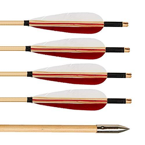 Huntingdoor 12 Stück 31 Zoll Holzpfeile mit 5 Zoll Naturfedern Pfeile für bogenschießen Pfeile aus Holz Jagdpfeile in Handarbeit für traditionellen Bogen Recurvebogen Langbogen (Rot-Weiß Federn)