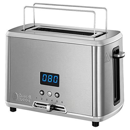 Russell Hobbs Mini Toaster, digitale Countdown Anzeige, 1 extra breiter Toastschlitz, integrierter Brötchenaufsatz, 6 einstellbare Bräunungsstufen + Auftau-&Aufwärmfunktion, 820W, Compact Home24200-56