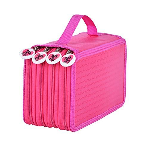 Estuche de lona para lápices de dibujo, 72 agujeros, portátil, plegable, con cremallera, para niños y niñas (diseño de amor plateado), color rosa rojo 20x12.5x9 cm