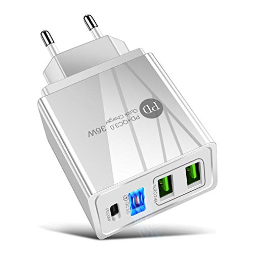 Adaskala 36W PD Quick C-harger F-AST Chargring Adapter con 3 Puertos de Carga USB Travel C-hargers Portátil para Viajes al Aire Libre