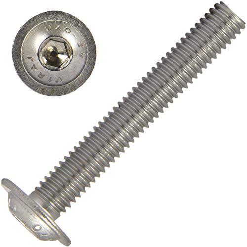 Linsenkopfschrauben mit Flansch und Innensechskant M4x25 (10 Stück) aus Edelstahl A2 (V2A) ISO 7380 Linsenschrauben Flanschschraube Vollgewinde Linsenkopf | AG-BOX®