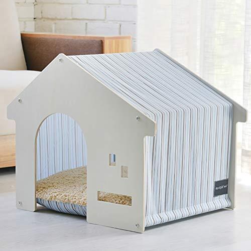 Zhyaj Hundehütte Aus Holz Isoliert Hundezwinger I Love House Kleine Hunde Villa Katzenhöhle Indoor Zelt,D,60 * 47 * 50CM