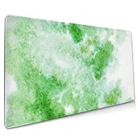 マウスパッド 大型 緑 グラデーション 水彩画 顔料 草柄 抽象ゲーミング デスクマット かわいい 防水性 耐久性 滑り止め 多機能 超大判 40cm×90cm おしゃれ