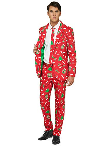OFFSTREAM Ugly Christmas Suits for Men – Red Icons – Xmas Sweater Costumes Include Jacket Pants & Tie – XXL