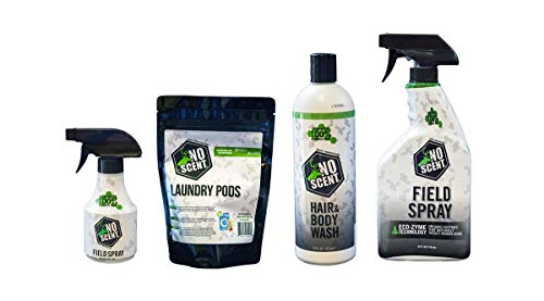 No Scent Full Bundle: 24oz & 8oz Field Spray, Laundry Pods, and Hair & Body Wash. Hunting Accessories, Odor Eliminator for Hunting Gear, Scent Elimination Value Pack