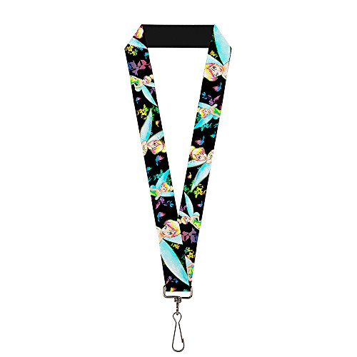 Buckle-Down Lanyard - Glowing Tinker Bell Poses/Butterflies & Flowers Black/Multi Neon