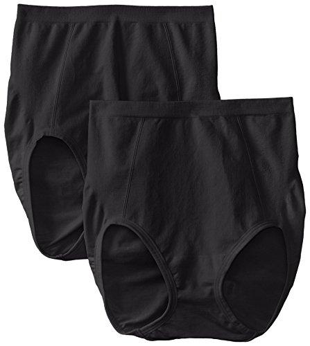 Bali Women's Shapewear Seamless Brief Ultra Control 2-Pack, Black, Medium