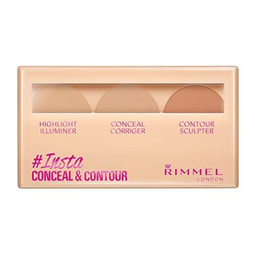 Rimmel London Insta Conceal & Contour, Palette Correttori per Illuminare, Correggere e Scolpire il Viso, 010 Light, 8,4 g