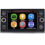 AWESAFE Radio Coche 7 Pulgadas para Ford con Pantalla Táctil 2 DIN, Autoradio de Ford con Bluetooth/GPS/FM/RDS/CD DVD/USB/SD, Apoyo Mandos Volante, Mirrorlink y Aparcamiento (Negra)