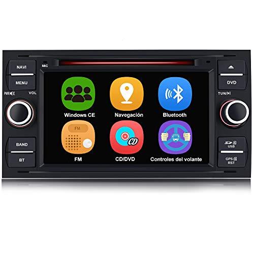 AWESAFE Radio Coche 7 Pulgadas para Ford con Pantalla Táctil 2 DIN, Autoradio de Ford con Bluetooth GPS FM RDS CD DVD USB SD, Apoyo Mandos Volante, Mirrorlink y Aparcamiento (Negra)